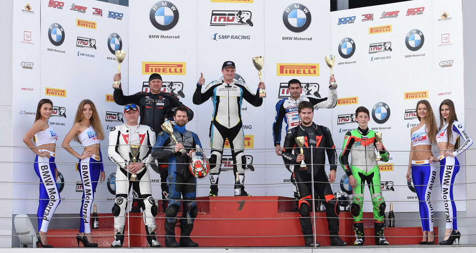 Подиум 5-го этапа Чемпионата Московской области по мотогонкам на Moscow Raceway